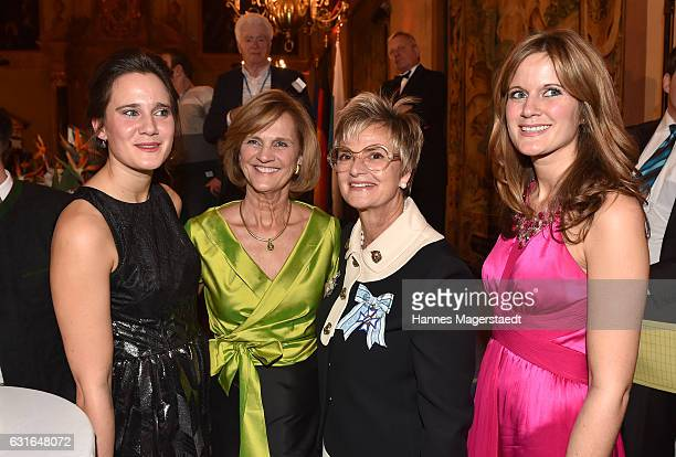 Ulrike Seehofer, Karin Seehofer, Fuerstin Gloria von Thurn und Taxis and Susanne Seehofer during the new year reception of the Bavarian state...