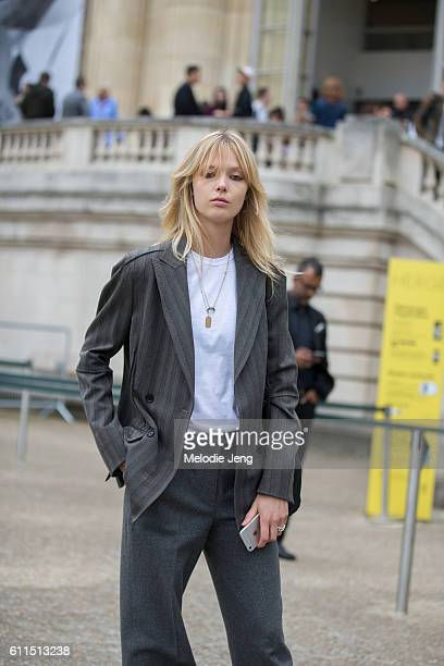 Ulrikke Hoyer outside the Chloe show at Grand Palais on September 29 2016 in Paris France