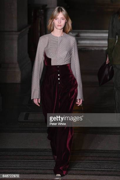 <<Ulrikke Hoyer walks the runway during the Stella McCartney show as part of the Paris Fashion Week Womenswear Fall/Winter 2017/2018 >> on March 6...