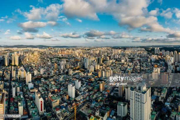 ulsan city aerial view of the downtown - ulsan - fotografias e filmes do acervo