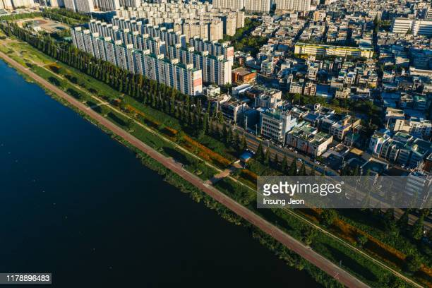 ulsan city aerial view of the downtown - 蔚山 ストックフォトと画像