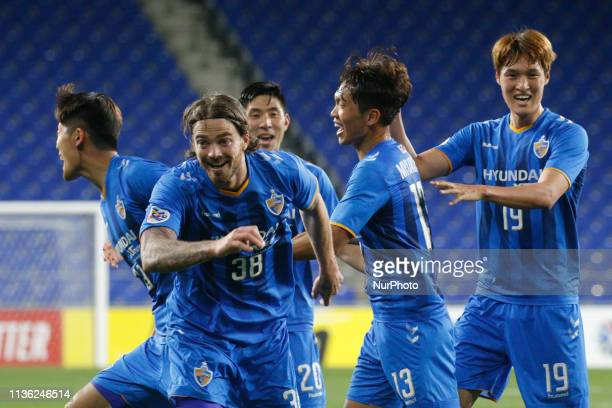 Ulsan Hyundai FC Players ceremony after their first goal action on the field during an AFC Champions League Group Stage Ulsan Hyundai FC V Kawasaki...