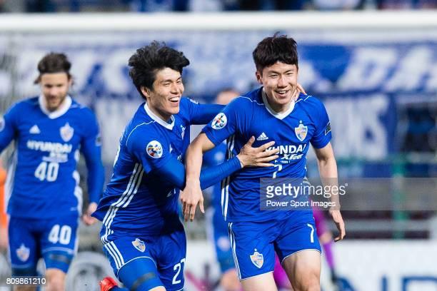 Ulsan Hyundai Forward Kim Insung celebrating his score with teammates during the AFC Champions League 2017 Group E match between Ulsan Hyundai FC vs...