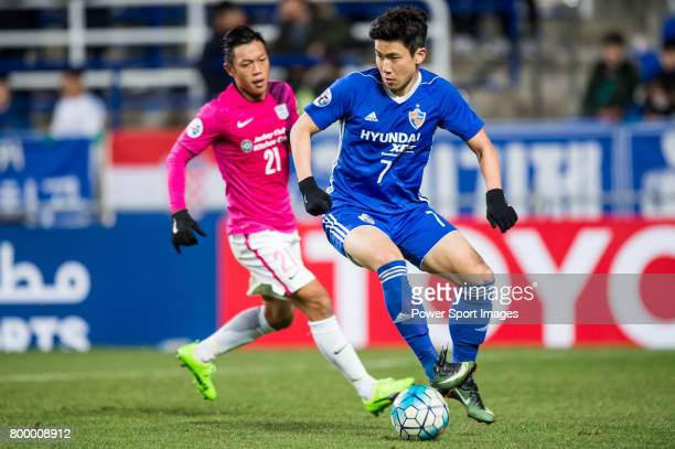 Ulsan Hyundai Forward Kim Insung in action during their AFC Champions League 2017 Playoff Stage match between Ulsan Hyundai FC vs Kitchee SC at the...