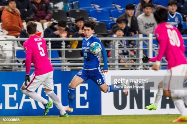 Ulsan Hyundai Forward Kim Seungjun in action during their AFC Champions League 2017 Playoff Stage match between Ulsan Hyundai FC vs Kitchee SC at the...