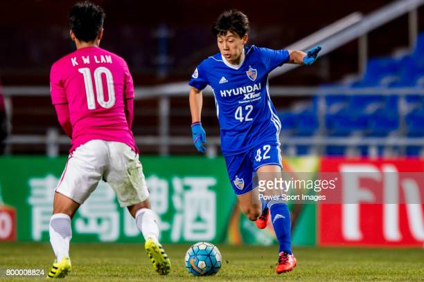 Ulsan Hyundai Midfielder Han Seunggyu in action during their AFC Champions League 2017 Playoff Stage match between Ulsan Hyundai FC vs Kitchee SC at...