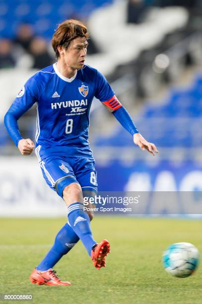 Ulsan Hyundai Midfielder Kim Sunghwan in action during their AFC Champions League 2017 Playoff Stage match between Ulsan Hyundai FC vs Kitchee SC at...