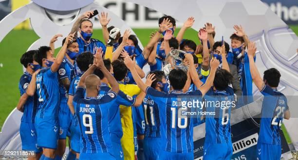 Ulsan Hyundai players lift the AFC Champions League after the AFC Champions League final between Persepolis and Ulsan Hyundai at the Al Janoub...