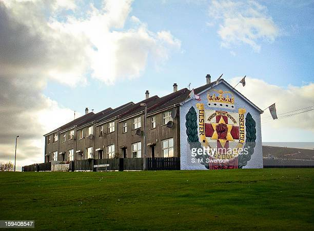 CONTENT] Ulster Loyalist/ Unionist/ Protestant Mural of the Red Hand on a housing estate in Bangor Northern Ireland Shot on September 11 2009