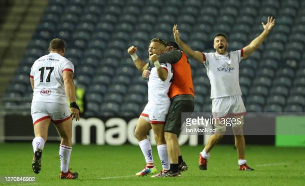 Ulster players celebrate after Ian Madigan scores the winning penalty with the last kick of the ball during the Guinness PRO14 PlayOff Semi Final...