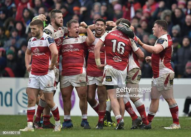 Ulster players celebrate victory at the final whistle during the European Rugby Champions Cup match between Ulster Rugby and La Rochelle at Kingspan...