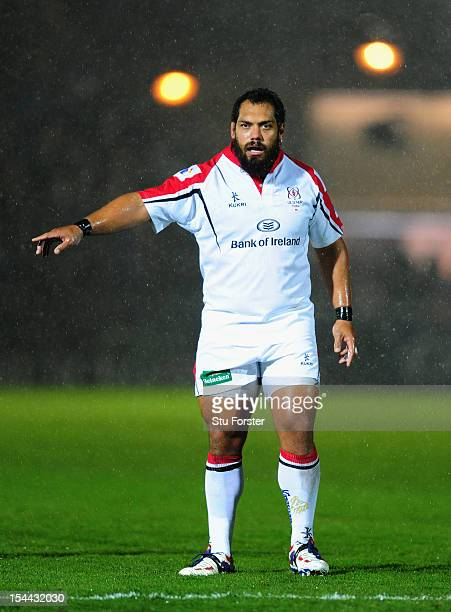 Ulster prop John Afoa looks on during the Heineken Cup round 2 match between Glasgow Warriors and Ulster at Scotstoun Stadium on October 19 2012 in...