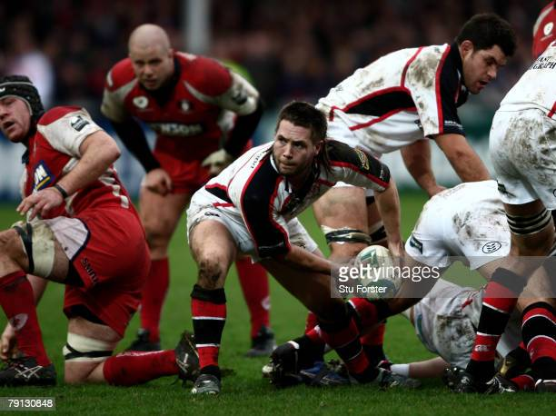 Ulster scrum half Isaac Boss prepares to release the ball during the Heineken Cup Pool 2 Round 6 game between Gloucester and Ulster at Kingsholm on...