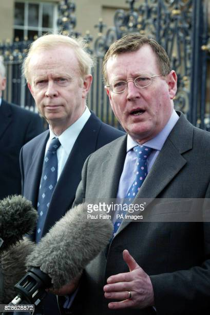 Ulster Unionist Leader David Trimble with Sir Reg Empey talking to the press at Hillsborough Castle County Down Belfast where the Peace Process talks...