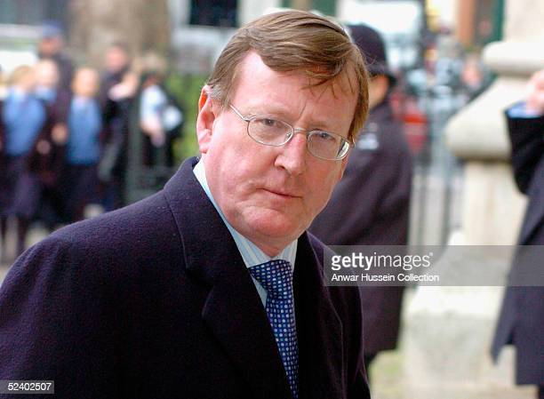Ulster Unionist Party leader David Trimble arrives for an Observance for Commonwealth Day 2005 service held at Westminster Abbey in central London on...