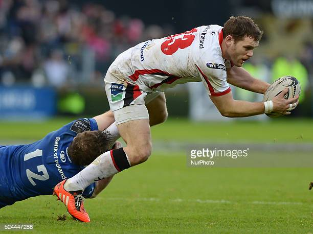 Ulster's Darren Cave in action, tackled by Leinster's Gordon D'Arcy, during the Guinness PRO12' match, at RDS Arena in Dublin.. Ireland. 3 January...