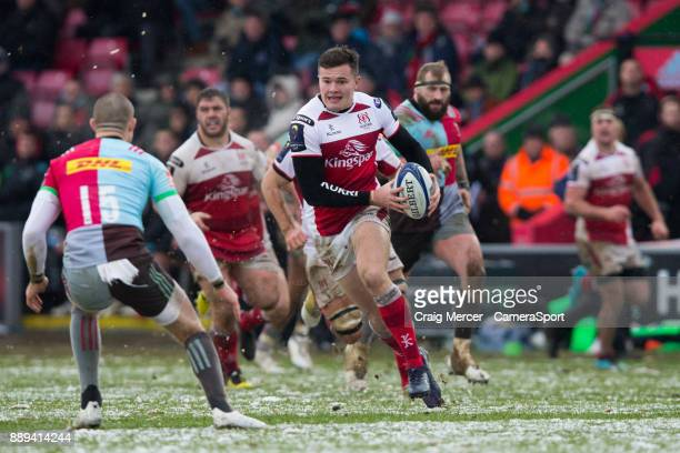 Ulsters Jacob Stockdale in action during the European Rugby Champions Cup match between Harlequins and Ulster Rugby at Twickenham Stoop on December...