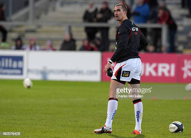 Ulster's Ruan Pienaar gets in some kicking practice before the European Rugby Champions Cup Pool 3 match between Ulster Rugby and Leicester Tigers at...