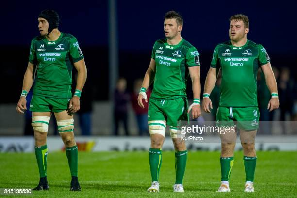 Ultan Dillane, James Cannon and Finlay Bealham of Connacht during the Guinness PRO14 rugby match between Connacht Rugby and Southern Kings at the...