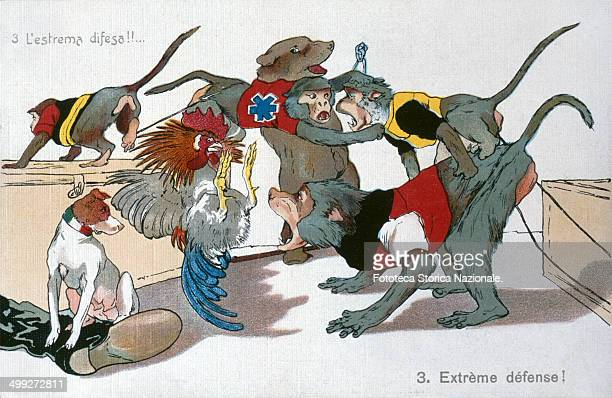 '3 Ultimate defense' Satirical Allegory of alliances between nations during the First World War represented by animals in question The series is...