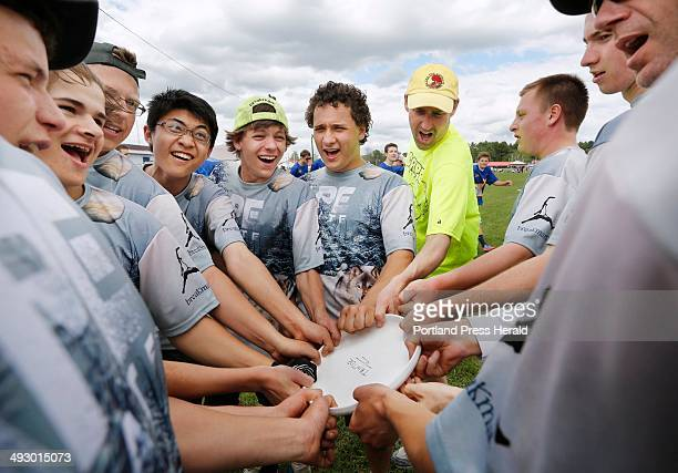 Ultimate frisbee tournament at Cumberland fairgrounds The Cape Elizabeth high school team comes together for a cheer before the start of the second...