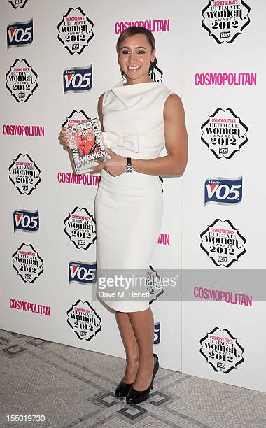 Ultimate Olympian Jessica Ennis poses in the press room at the Cosmopolitan Ultimate Woman of the Year awards at the Victoria Albert Museum on...