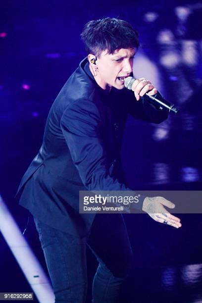 Ultimo attends the fourth night of the 68 Sanremo Music Festival on February 9 2018 in Sanremo Italy