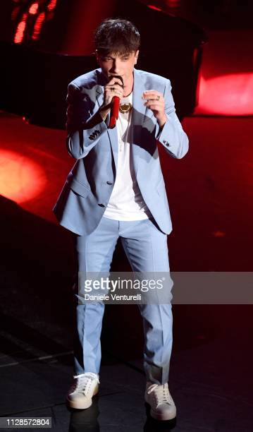 Ultimo on stage during the closing night of the 69th Sanremo Music Festival at Teatro Ariston on February 09 2019 in Sanremo Italy
