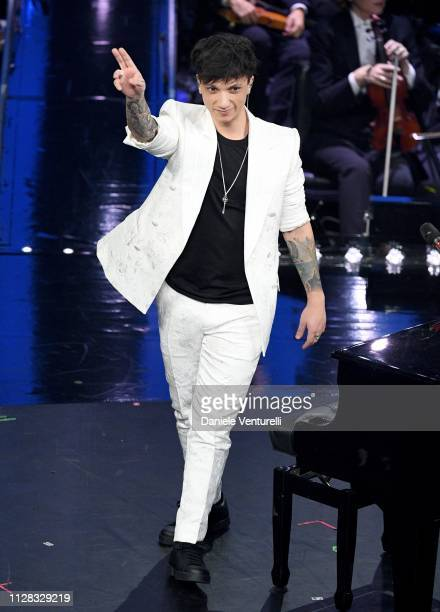 Ultimo on stage during the fourth night of the 69th Sanremo Music Festival at Teatro Ariston on February 08 2019 in Sanremo Italy