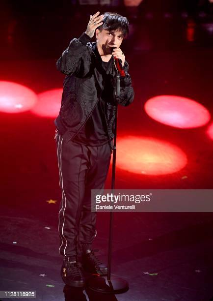 Ultimo on stage during the third night of the 69th Sanremo Music Festival at Teatro Ariston on February 07 2019 in Sanremo Italy