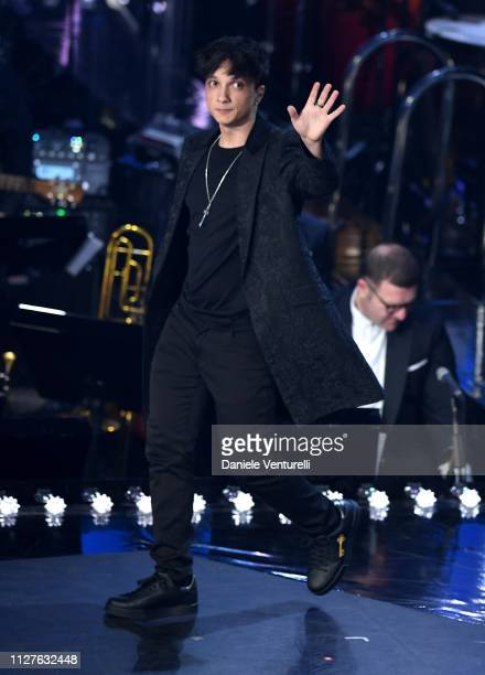 Ultimo performs on stage during the first night of the 69th Sanremo Music Festival at Teatro Ariston on February 05 2019 in Sanremo Italy