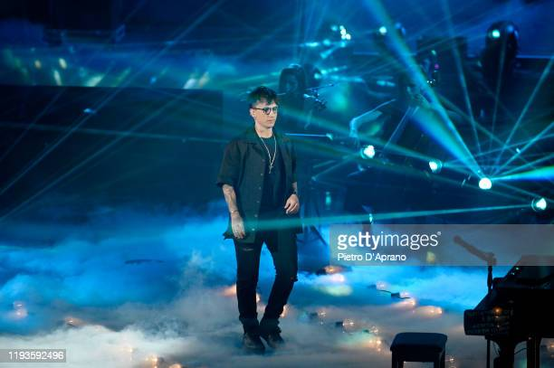 Ultimo performs on stage during X Factor 2019 Final at Mediolanum Forum of Assago on December 12 2019 in Milan Italy