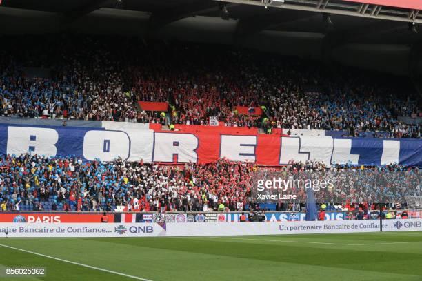 Ultra fan of PSG react for old president Francis Boreli during the Ligue 1 match between Paris SaintGermain and FC Girondins de Bordeaux at Parc des...