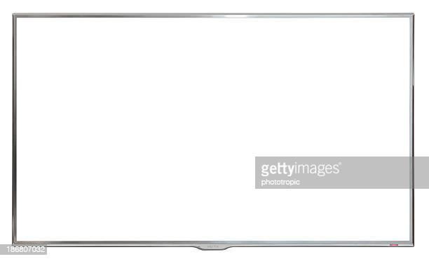 ultra modern high definition wall mounted tv - white background stock pictures, royalty-free photos & images