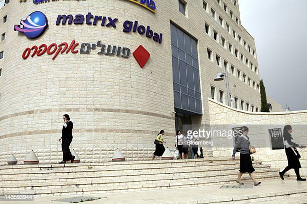 Ultra orthodox Israeli women are seen outside the offices of Matrix Global a unit of Matrix IT Ltd in Modi'in Illit Israel on Sunday April 29 2012...
