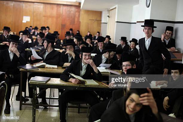 Ultra Orthodox Jewish children study in Belz synagogue on April 14 2011 in Jerusalem Israel