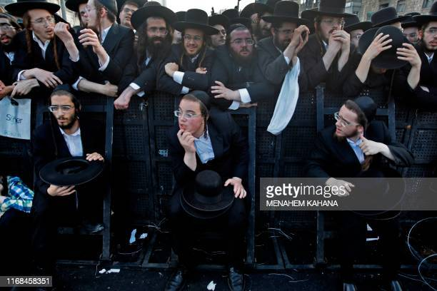 Ultra Orthodox Jews attend an election campaign rally of the Yahadut Hathora at the centre of Jerusalem on September 15 2019 two days ahead of the...
