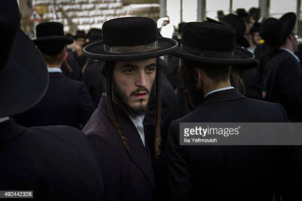 Ultra orthodox relatives and friends attend the funeral of Isheayahu Krishevsky on October 13 2015 in Jerusalem Israel Krishevsky was stabbed to...