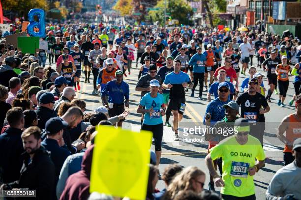 Ultra runner and water campaigner Mina Guli runs the New York Marathon during the #RunningDry Expedition on November 4 2018 in New York NY The...