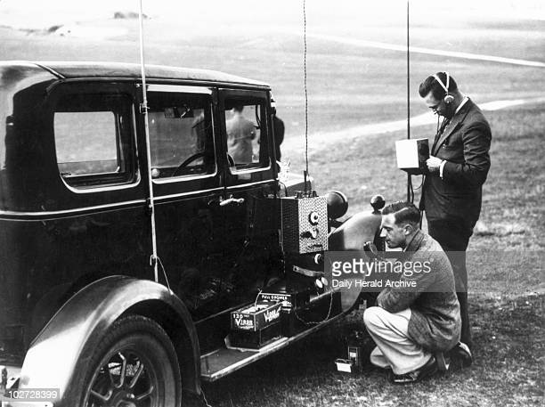 Ultra short wave radio experiment with a glider conducted by Douglas Walters 14 September 1934 Photograph shows Douglas Walters and G Jessop working...