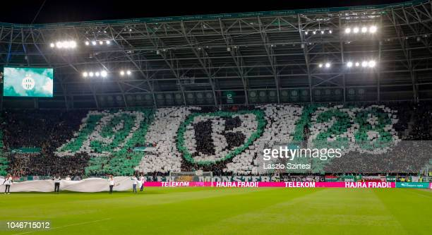 Ultra supporters of Ferencvarosi TC choreograph a picture prior to the Hungarian OTP Bank Liga match between Ferencvarosi TC and Ujpest FC at...