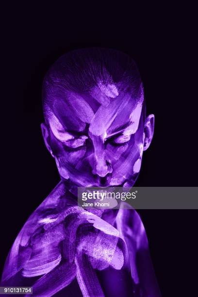 ultra violet portrait - body paint stock pictures, royalty-free photos & images