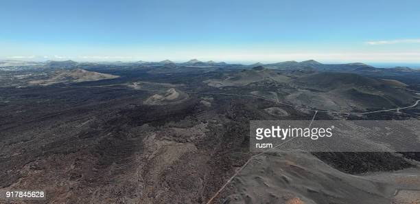 Ultra wide angle aerial volcanic landscape in Timanfaya National Park, Lanzarote, Canary Islands