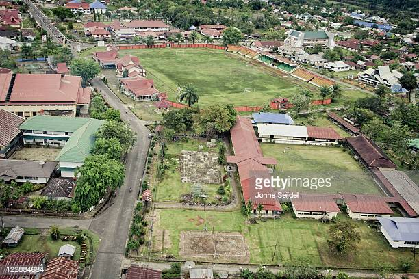ultralight flight above city - west kalimantan stock pictures, royalty-free photos & images