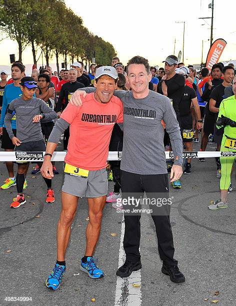 Ultramarathoner Dean Karnazes and Ronan Gardiner Publisher of Men's Health magaine attend the 10th Annual URBANATHLON featuring Seiko Six Star and...