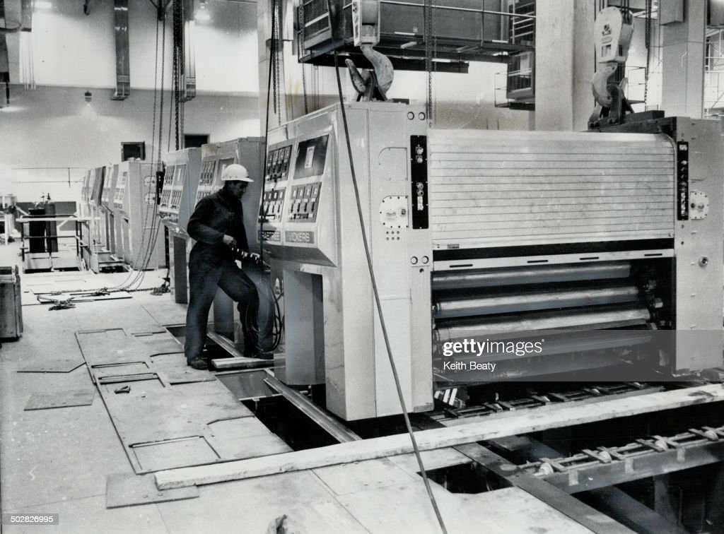 Ultra-modern press unit is capable of printing 16 pages per revolution and is and is geared for 35;0 : News Photo