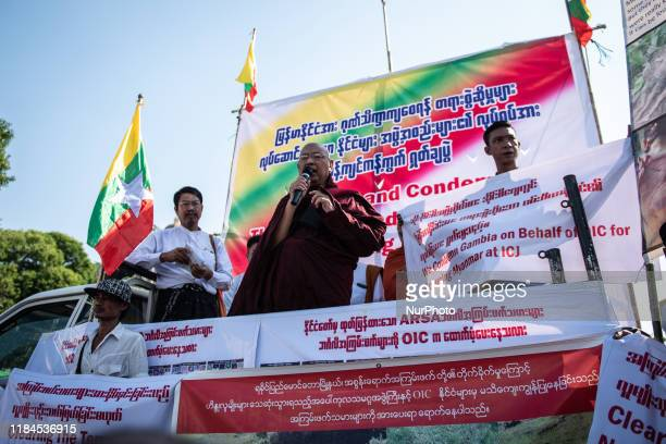 Ultra-nationalist monk U Pamaukkha delivers a speech during a protest against Western African nation the Gambia who recently filed a case at the...