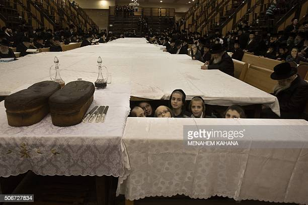 UltraOrthodox Jewish children of the Belz Hasidim take part in the celebration of the Jewish feast of Tu Bishvat on January 25 2016 in Jerusalem...