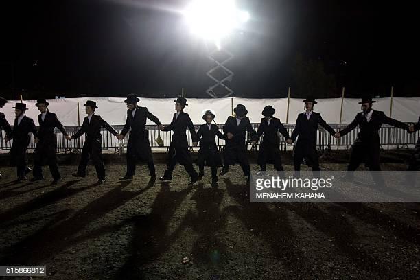 UltraOrthodox Jewish Hasidim dance during the wedding ceremony of Parowol Mirel Lamber the bride from the Toldos Avrohom Yitzchok Hasidim community...