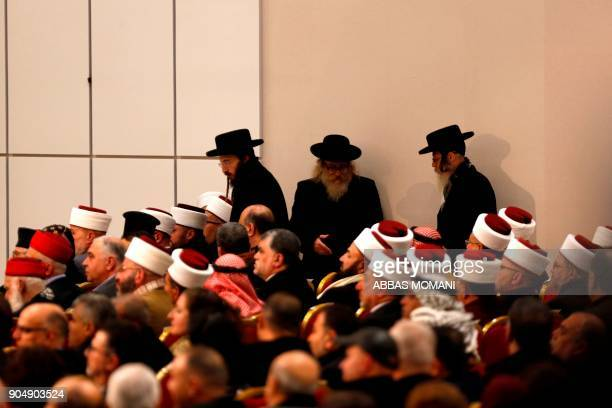 Ultraorthodox Jewish men belonging to Neturei Karta a small faction of antiZionist ultraOrthodox Jews who oppose Israel's existence attend a speech...